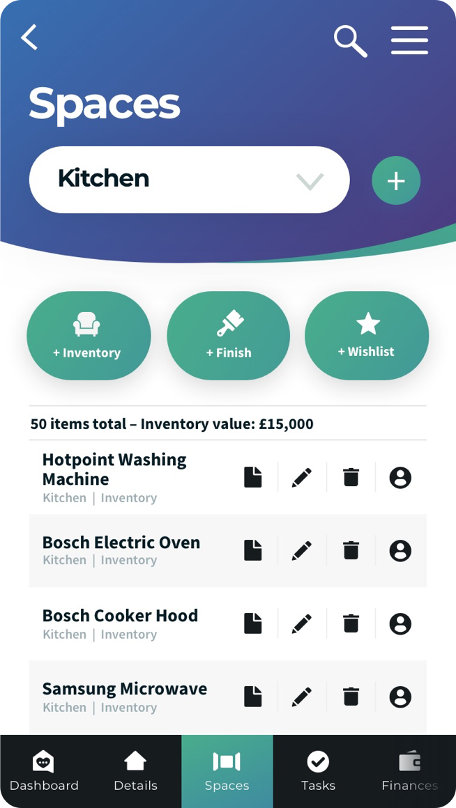 AskHomey App Manage Home Spaces